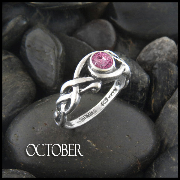 October Birthstone Celtic Ring in Sterling Silver