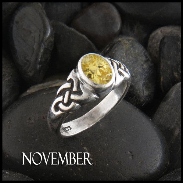 November Birthstone Celtic Ring in Sterling Silver