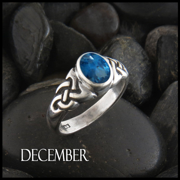 December Birthstone Celtic Ring in Sterling Silver