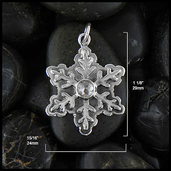Snowflake dimensions 24mm wide by 29mm long