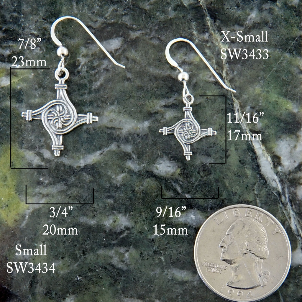 St. Brigid's Spiral Cross Earrings in Silver