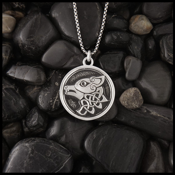 Celtic Wolf Pendant in Sterling Silver