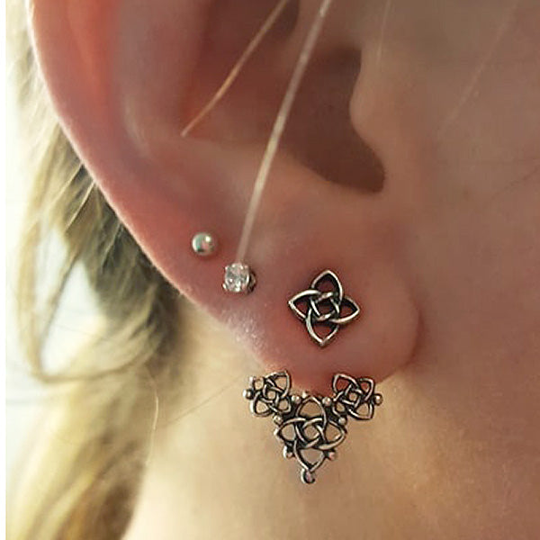Celtic Knot Ear Jacket in Silver