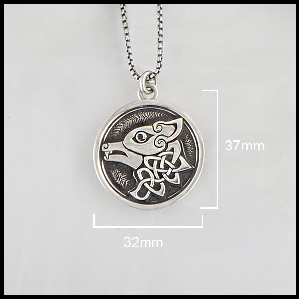 Silver Celtic Wolf 37 mm x 32 mm