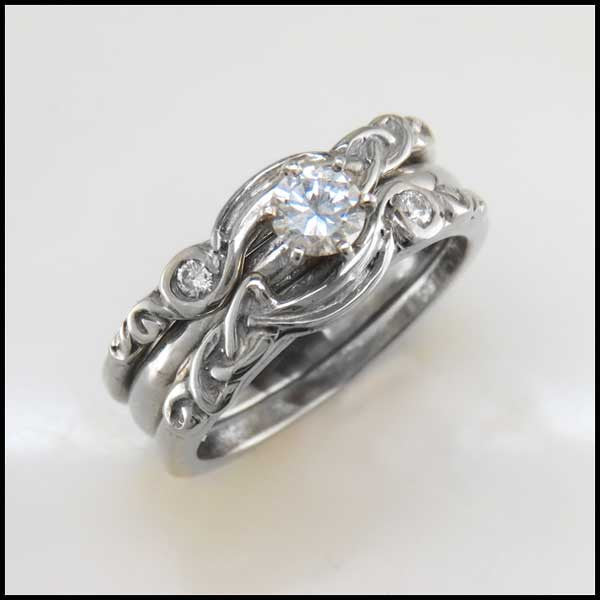 Three Piece Celtic Knot Engagement Ring and Wedding Band