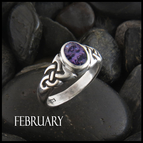 February Birthstone Celtic Ring in Sterling Silver