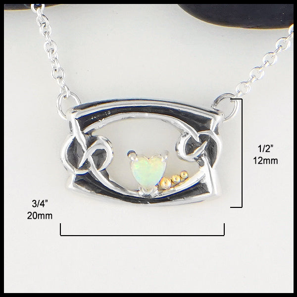 1/2 inch by 3/4 inch Heart Shaped Opal Necklace