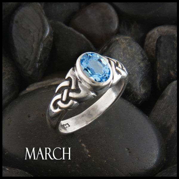 March Birthstone Celtic Ring in Sterling Silver