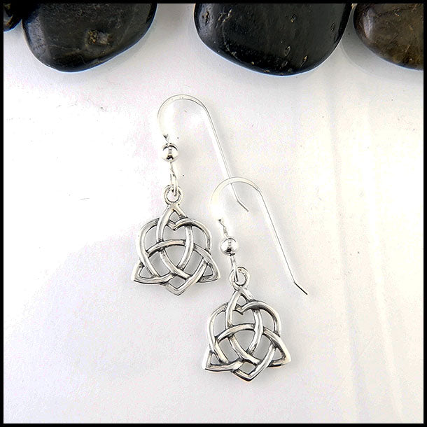Trinity heart knot drop earrings in silver