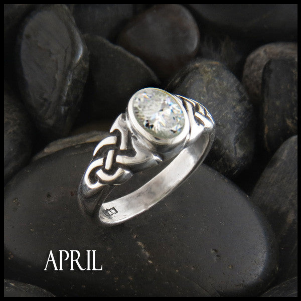 April Birthstone Celtic Ring in Sterling Silver