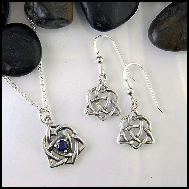 Trinity Heart Pendant and Earring set