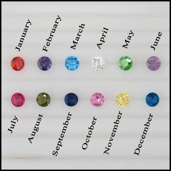 Simulated birthstones for necklace