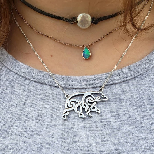 Celtic Bear Necklace in Sterling Silver