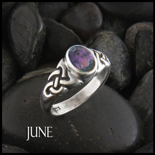 June Birthstone Celtic Ring in Sterling Silver
