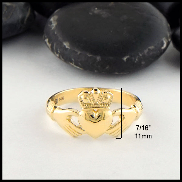 7/16 inch Heritage Claddagh Ring in Gold
