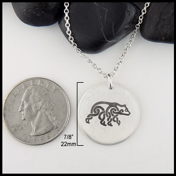 Celtic Bear Disc Pendant