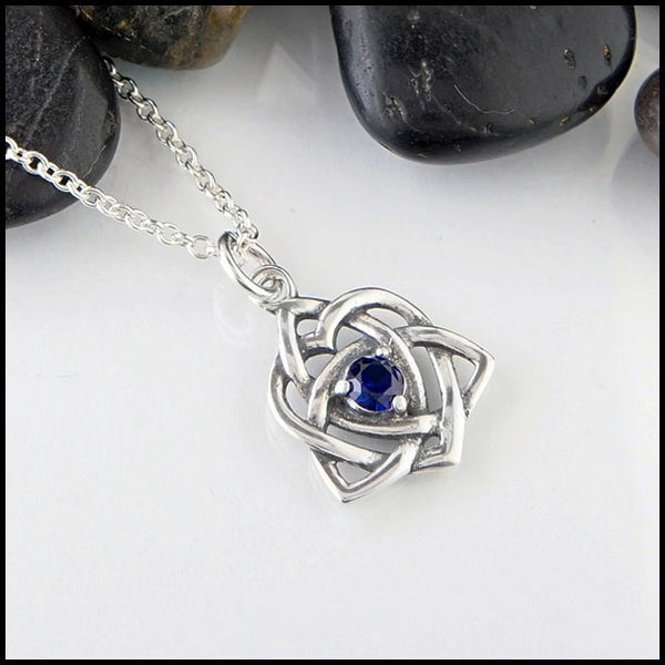 Celtic heart in Sterling silver with Lab Sapphire