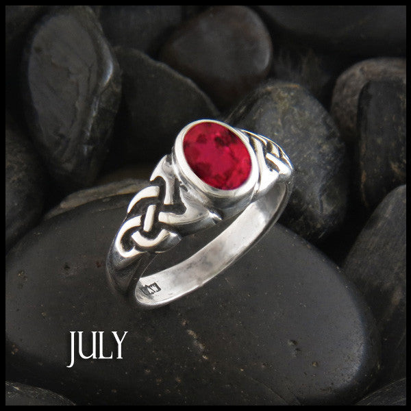 July Birthstone Celtic Ring in Sterling Silver