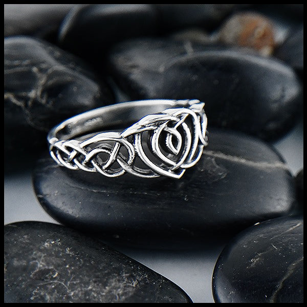 Celtic Heart Knot Ring Silver
