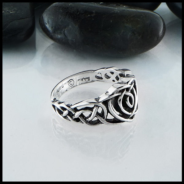 Profile of Kathleen's Heart Knot Ring in Silver