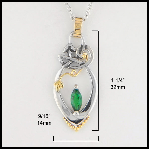 9/16 inch by 1 1/4 inches Chrome Tourmaline Lily Pendant