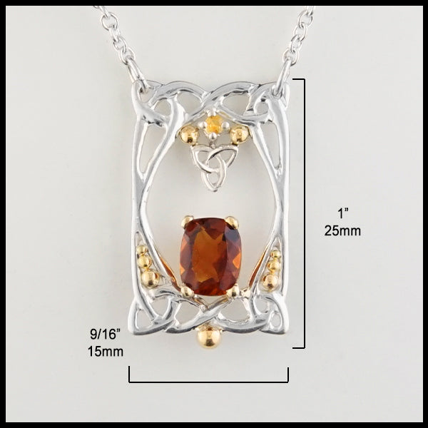 1 by 9/16 inch Citrine and Trinity Knot Pendant