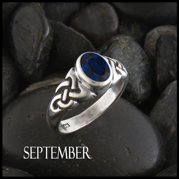 September Birthstone Celtic Ring in Sterling Silver
