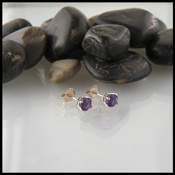 Amethyst 14KW Post Earrings Walker Metalsmiths Celtic Jewelry Gold