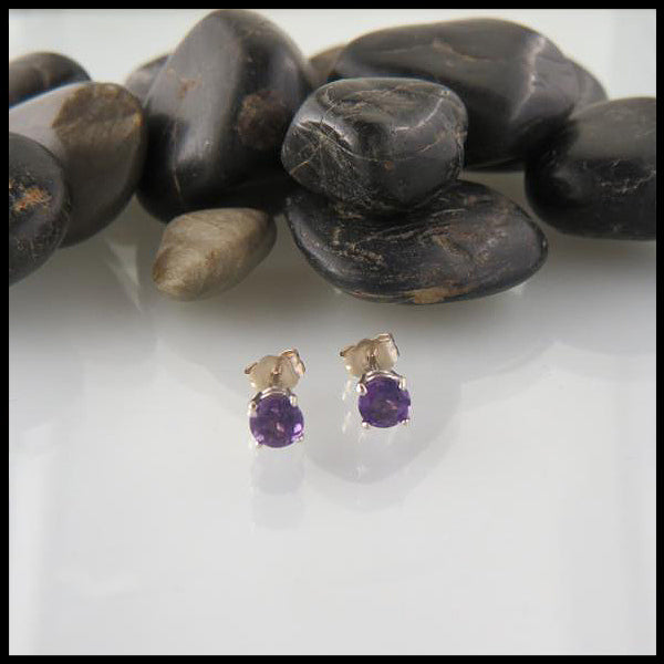 White Gold Amethyst Post earrings