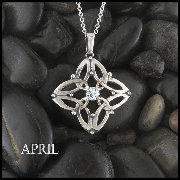 April Birthstone Celtic Trinity Star Pendant