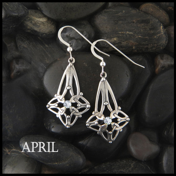 April Birthstone Celtic Trinity Star Earrings in Silver