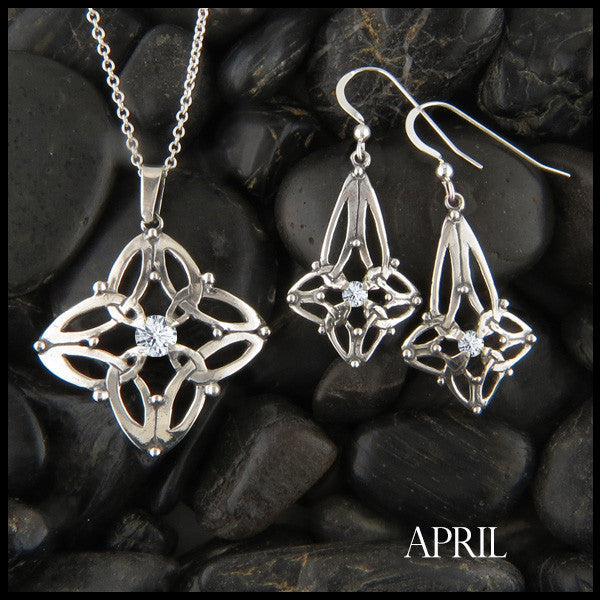 April Birthstone Celtic Trinity Star Pendant and Earring Set
