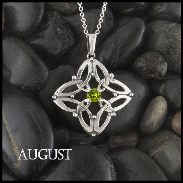 August Birthstone Celtic Trinity Star Pendant
