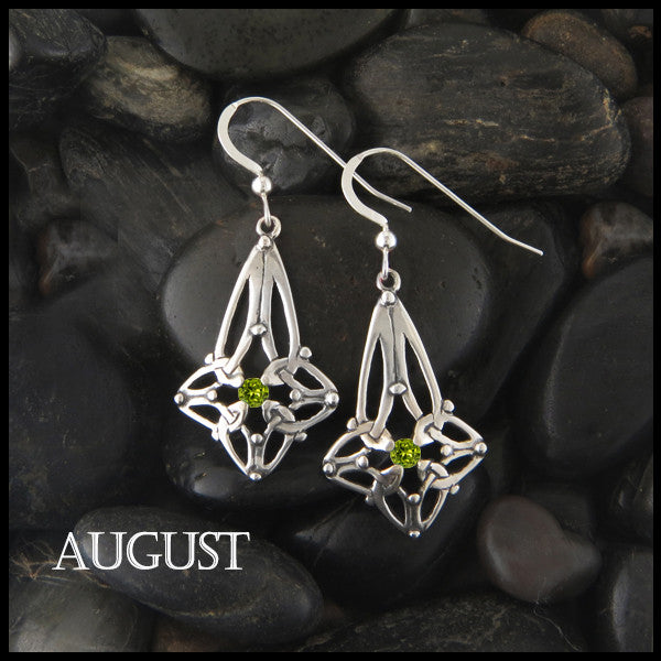 August Birthstone Celtic Trinity Star Earrings in Silver