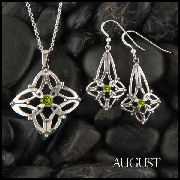 August Birthstone Celtic Trinity Star Pendant and Earring Set