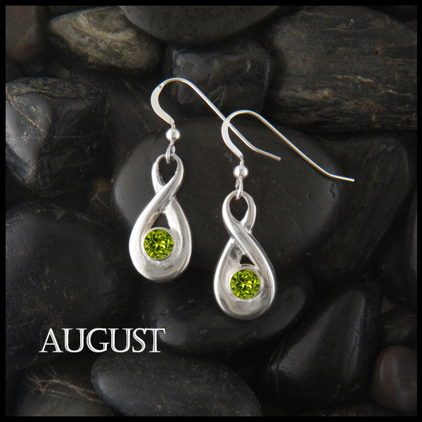 August Birthstone Celtic Eternity Earring in Silver