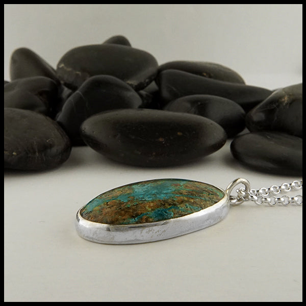 Oval Azurite Rustic Pine Tree Pendant in Sterling Silver