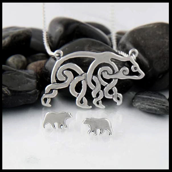 Celtic Bear Pendant and Earring Set