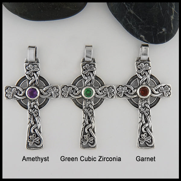 Three Celtic Shamrock crosses with Amethyst, Green Cubic Zirconia, and Garnet