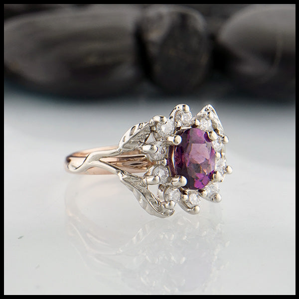 Vine and Leaf Purple Garnet Ring