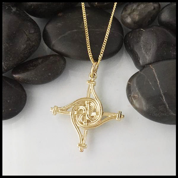 St. Brigid's Spiral Cross in Gold