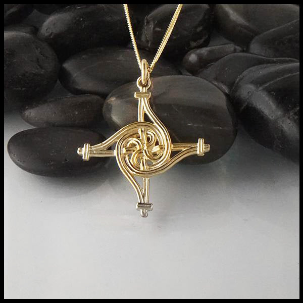St Brigid Spiral Cross in Gold