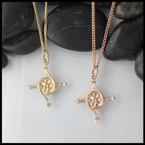 St. Brigid Cross Pendant in Yellow or Rose Gold