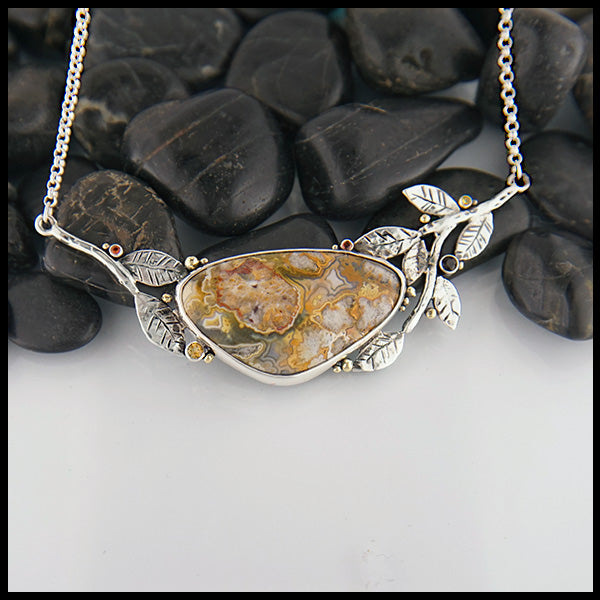 Nature Inspired Crazy Lace Agate Bar Pendant