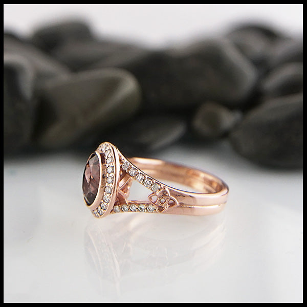Celtic Ring with Diamond Halo