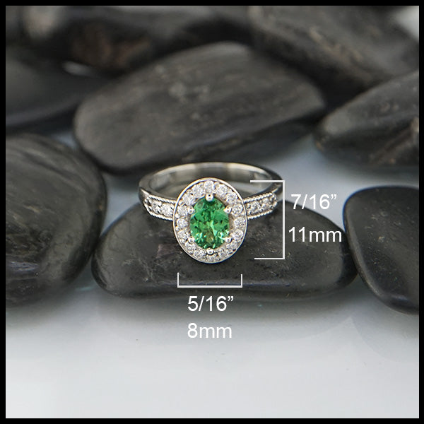 tsavorite and diamond engagement ring