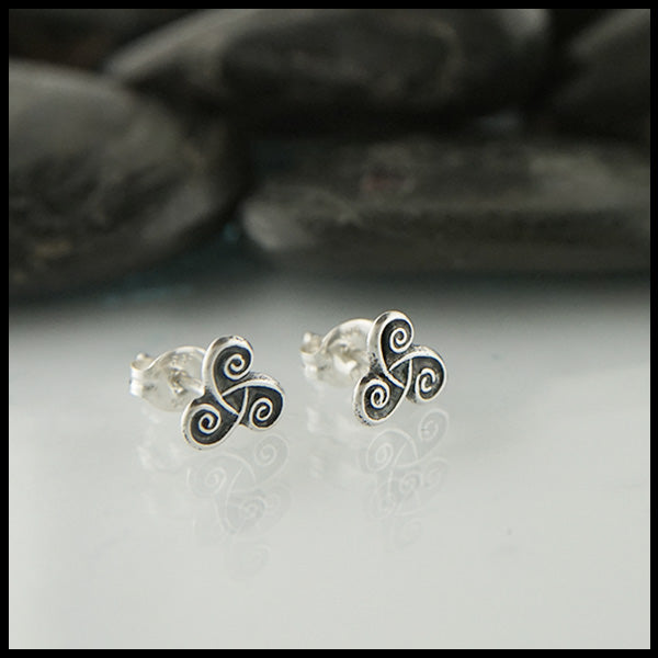 Spiral Post Earrings in Silver
