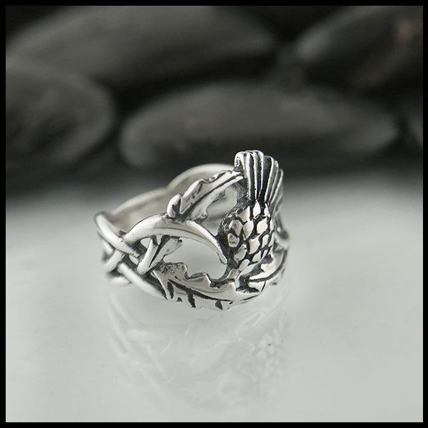 Scottish Thistle Ring in Sterling Silver