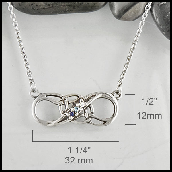 Infinity Knot birthstone Pendant in Sterling silver