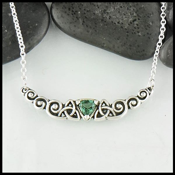 Trinity Scroll Bar Pendant with Green Tourmaline